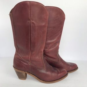 Dexter | VTG Red Leather Stacked Heel Boots